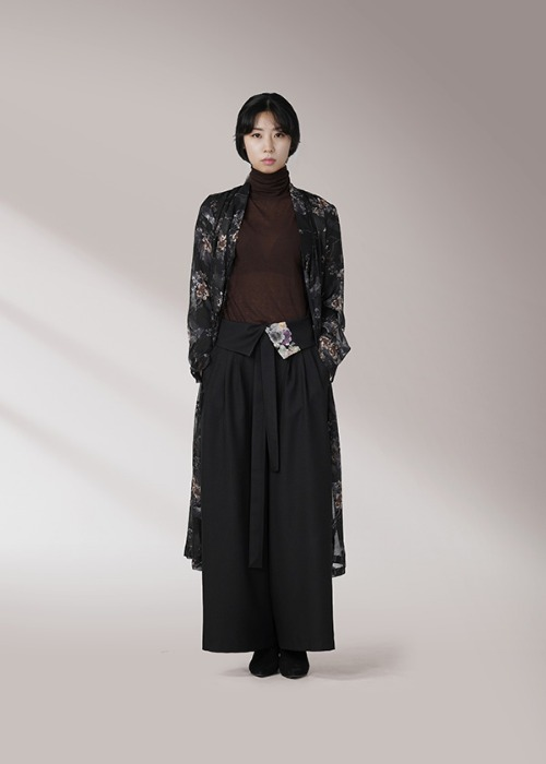 [7196 label] black robe wrap chiffon dress
