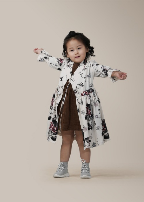 [7196 label] kids robe wrap dress