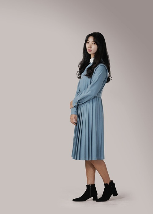[7196 label] skyblue wool pleats dress