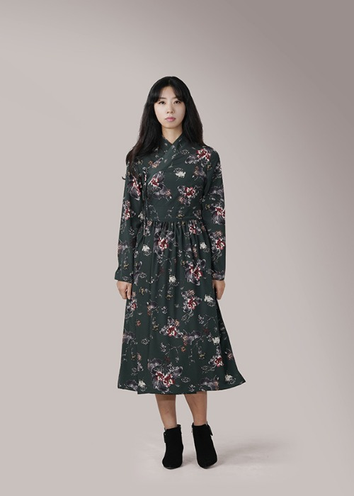 [7196 label] blue green robe wrap dress