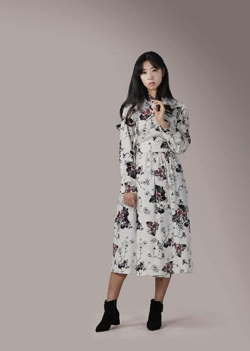 [7196 label] ivory robe wrap chiffon dress