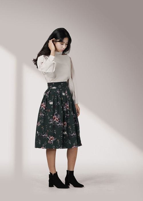 [7196 label] blue green wrap skirt
