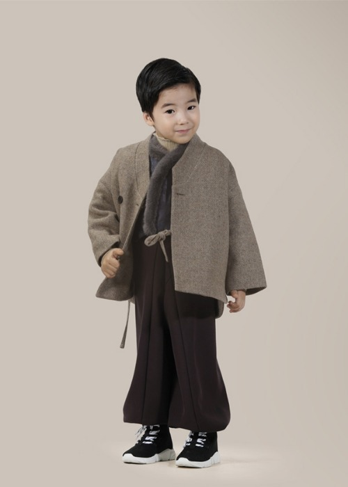 [7196 label] kids beige wool coat