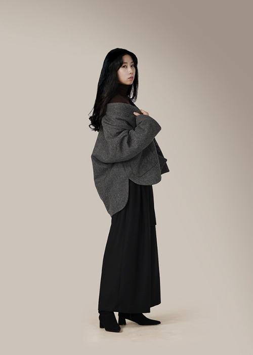 [7196 label] charcoal wool half coat