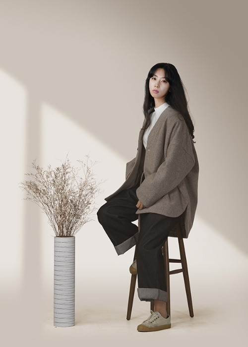 [7196 label] beige wool half coat