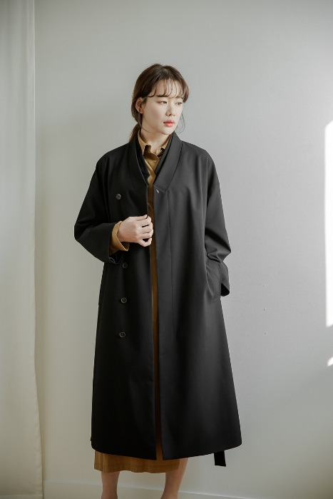 [7196 label] Double collar coat black (단독 주문 시 선발송)