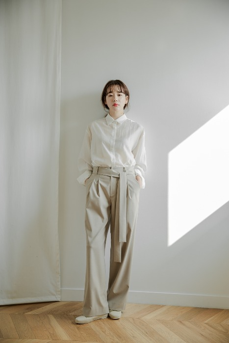 [7196 label]set up pants beige