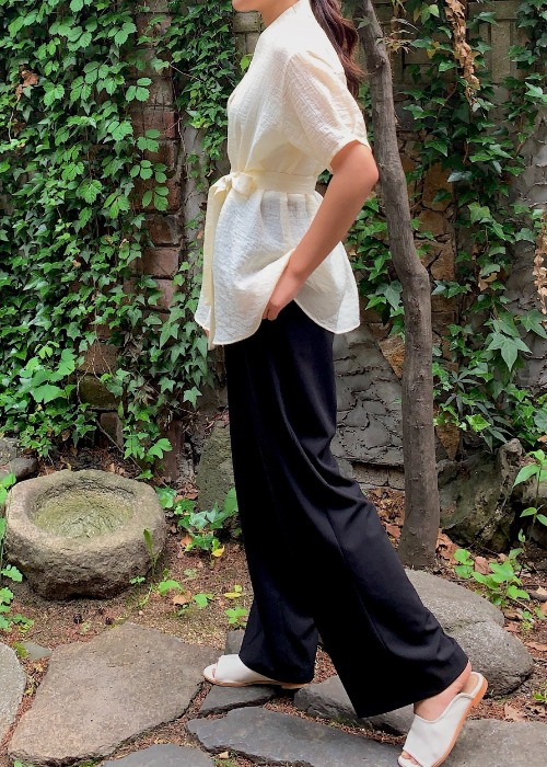 summer two tuck wide pants - black